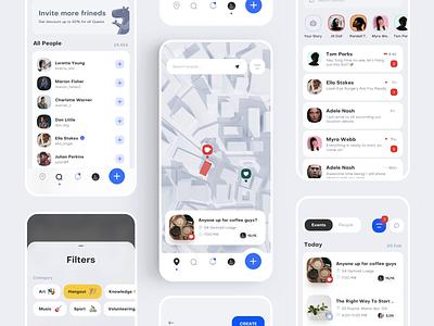 Events App Quests interaction map chat quest event community network social service app mobile ux