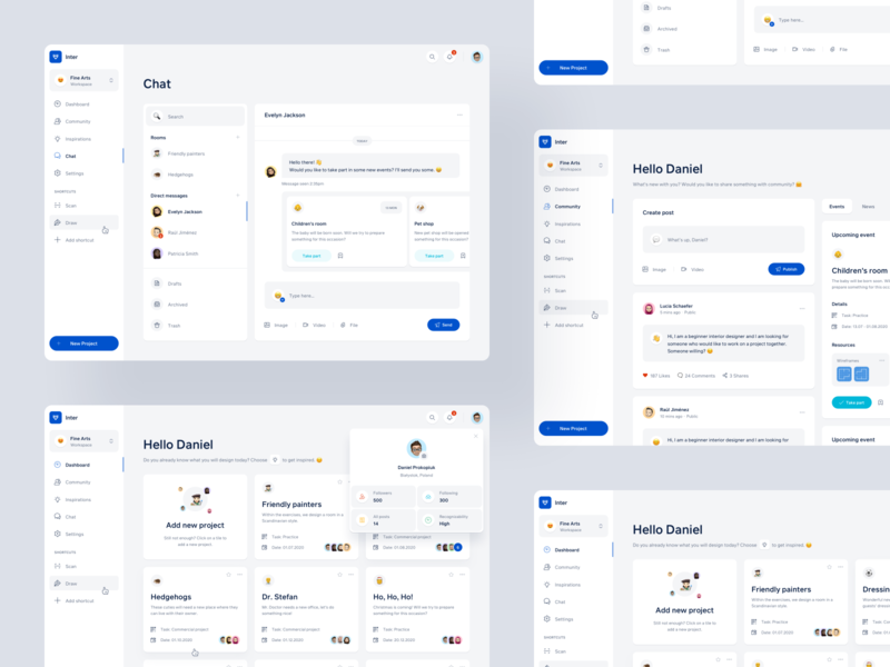 Inter webdesign profile community workspace web app web ux ui product collaboration overview minimal interior design dashboad chat cards card architecture app