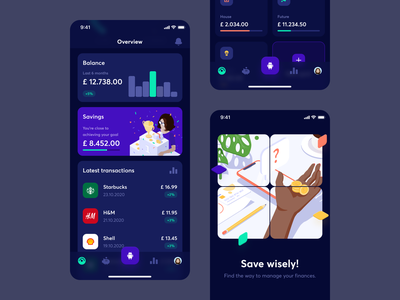 Fimago - 1 finance management management finance mobile app mobile dark dashboard isometric overview transactions chatbot savings charts dark mode illustration ux ui