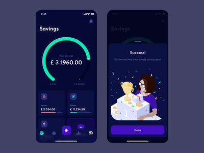 Fimago - 2 chart goals ai savings overview isometric illustration dashboard dark mobile app mobile finance management finance management dark mode ux ui