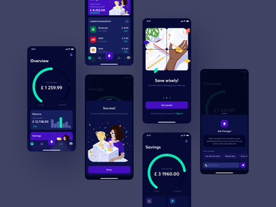 Fimago - 3 bot mobile app overview dashboad mobile transations accounts savings onboarding assistant chatbot chat chart management finance isometric illustration illustration ux dark mode ui