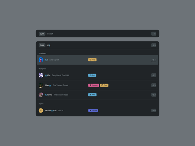 Components - Dark typing tags characters hero players player shortcut badges expanded design system user profile gaming search