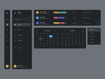 Components - Dark interface team workspace date picker data design system tags side navigation sidebar menu dropdown table calendar web app dashboard ux dark dark mode ui