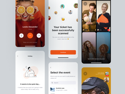 Events 🥳 ticket chat live group interface product design cards ui event app call streaming streamer stream illustration ux ui mobile app mobile app event