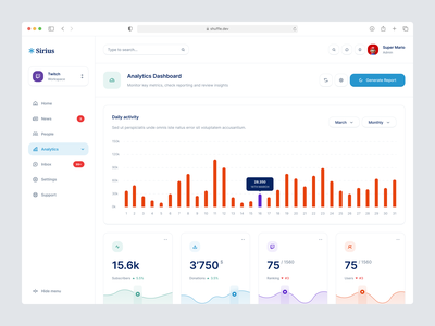 Sirius - Dashboard Library library components cards news analytics gaming minimal clean ux web editor product dashboard ui
