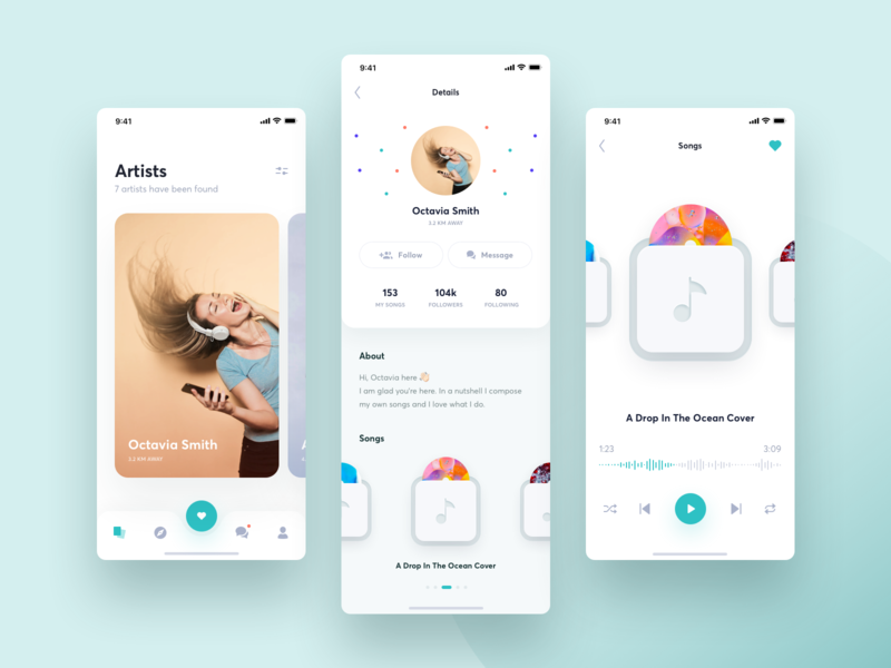 Application For Amateur Musicians slider play artists artist interface player design ux ui app card cards music