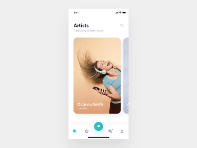 Application For Amateur Musicians 3 interaction design mobile swipe mobile app artists message chat cards cover app interface music ux ui animation interaction