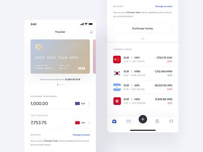 Fintech web design wallet finances finance credit card exchange currency exchange currency money cards application app fintech mobile ux ui product design product