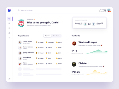FUT - Light concept competition results gaming game fifa webapp webdesign web light football players dashbord design ux ui