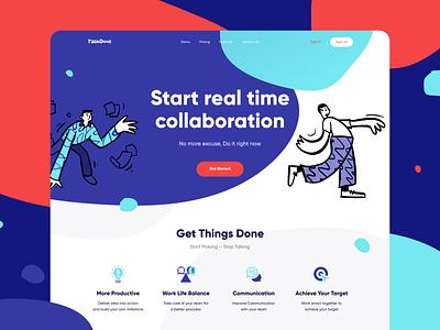 Taskdone - Landing Page Design management abstract branding webdesign blue orange purple productive target achieve communication presentation collaboration done task landingpage