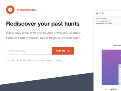 PH Boomerang Landing Page landing page ui