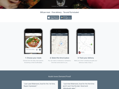 Demand Food Landing Page landing page ux ui