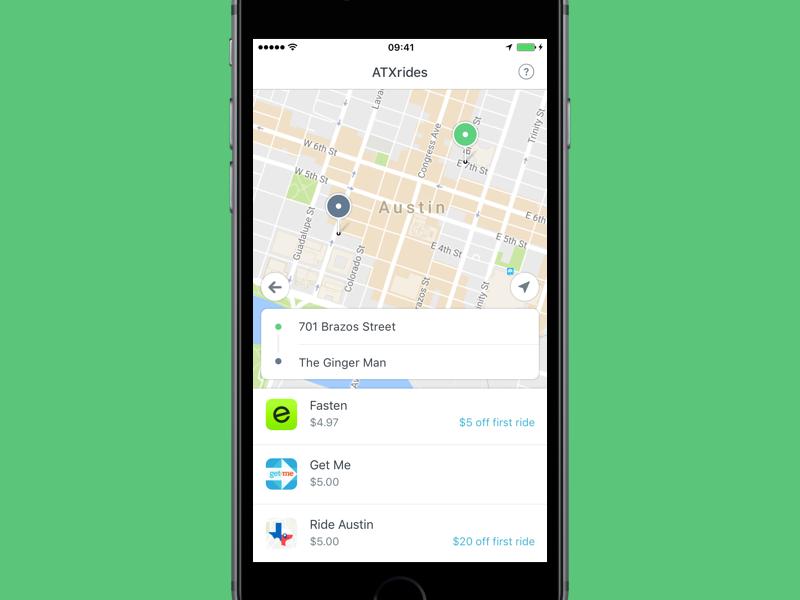 ATXrides ride share austin ios mobile ux ui