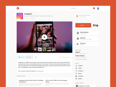 Product Hunt - Product Pages website design user interface user experience ux ui products design