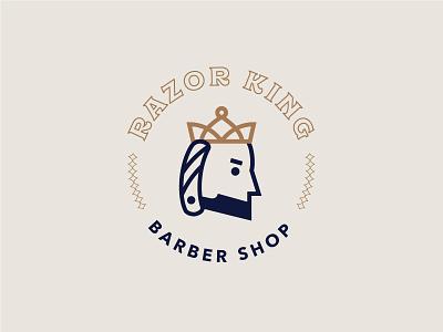 Razor King Logo straight edge crown razor king barber shop logo