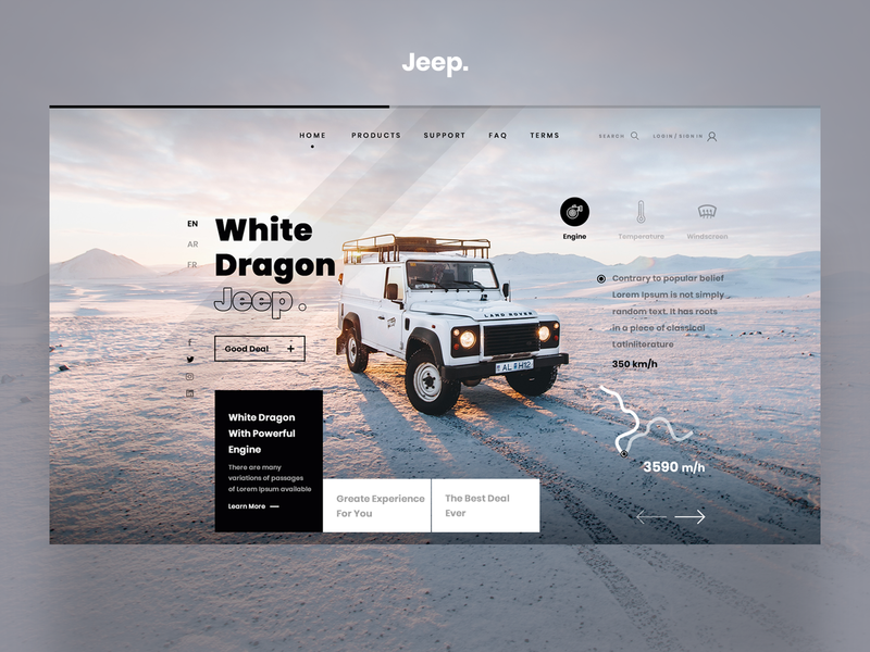 White Dragon Jeep. snow travelling white dragon jeep product car ui form user interface illustration ui userinterface design graphic user interface design. web design ux user experience design uiux ui design