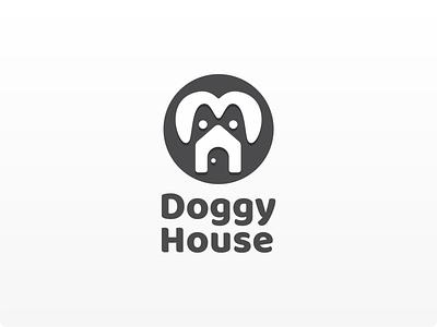 doggy House: Dog Breeding Logo minimal flat logo design icon brand design negative space playful logodesign logotype animal branding design logos logo