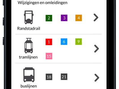 Improved changes and delays htm.net haagse tram maatschapij den haag the hague redesign responsive design visual design ui design user interface design public transport