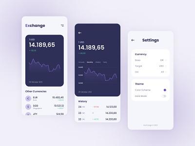 Exchange Rate Mobile App - Design Exploration currency money exchange app mobile ui design design ui