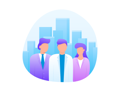 Business partners product illustration purple blue woman men people skyscrapers cityscape skyline jezovic onboarding app park business gradient character illustrator vector illustration