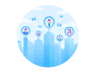 Cooperation App Illustration talk deal communication circle envelope mail cloud jezovic character illustrator illustration skyscraper gradient vector people corporate corporation cooperation business blue