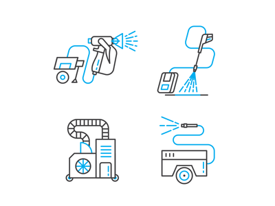 Icons of some Machines jezovic nozzles simple clean cleaning protection iconography design machine duotone branding vector illustration illustrator icons set washing wash icon icons