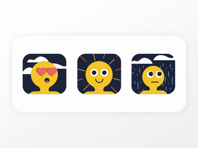 Moods emotions loop excited clouds cloudy happy sad love emojis emoji moods mood animation adobe gradient jezovic character illustrator vector illustration