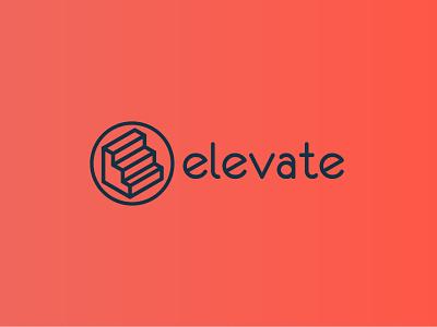 Elevate logo growth improve mark logomark logotype logo stairs staircase elevate