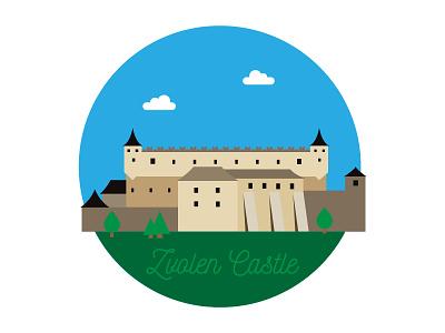 Zvolen Castle flat simple castle europe slovak slovakia zvolen illustration