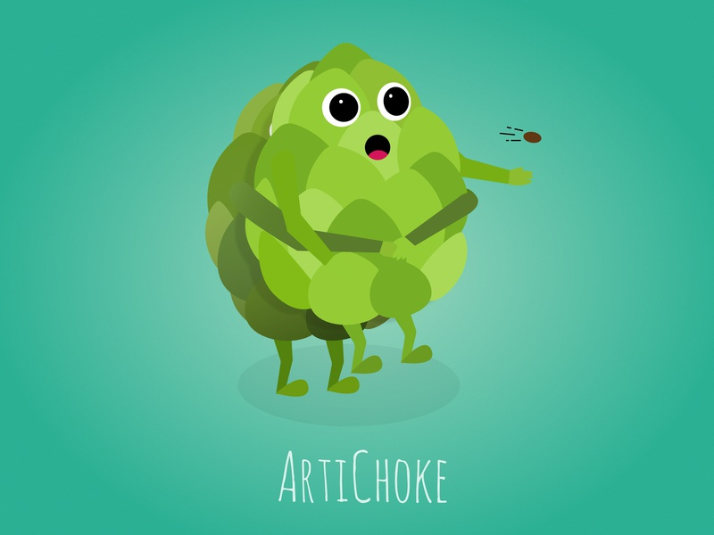 ArtiChoke character vector joke fun funny vegetable illustration choke artichoke