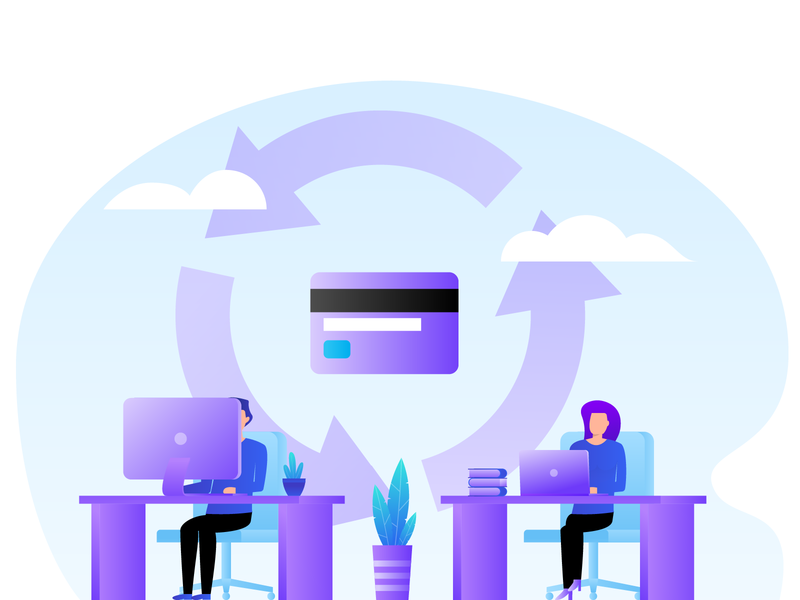 Revenue Cycle Services illustrator gradient creditcard boy girl illustration medical colour color vivid vector mac pc office character people services cycle revenue