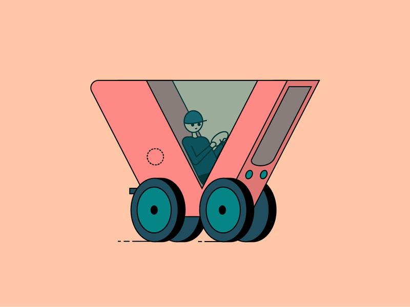 Vehicle flat transport red challenge car v vehicle illustrator character illustration vector 36dayoftype