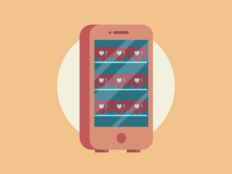 Vending Phone adobe machine vending phone iphone mobile red orange flat illustrator vector illustration