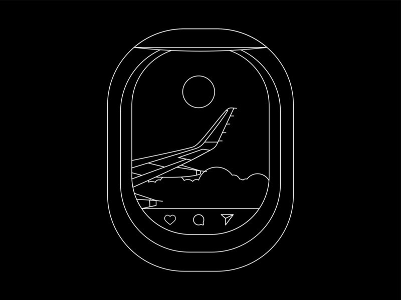 How do you like the view? vector illustrator illustration blackandwhite white black monochromatic line monoline sun share comment window airplanes socialmedia like sunshine view plane airplane