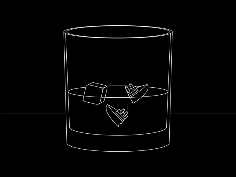 Meeting the Ice(berg) black white adobe blackandwhite line monoline vector illustrator illustration ice water alcohol drink glass whiskey crash titanic boat ship iceberg