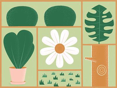 Plants bush leaf freelance illustrator plant illustration layout textures grass trunk tree flower plants plant texture vector illustration
