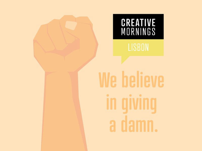 We believe in giving a damn! freelance illustrator flat manifesto orange yellow lisbon illustration believe giving hand fist mornings creativemornings creative