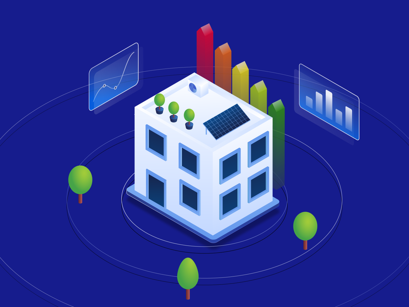 Hero Isometric Illustration vector adobe illustrator twg remote tech blue building certificate trees tree isometric illustration graph solar energy jezovic jakub illustration hero isometric