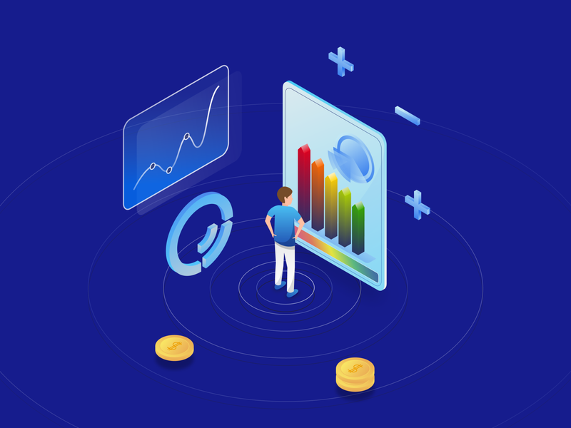 Project Evaluation blue character plus vector freelancer remote freelance illustrator gradient illustration isometric coin jezovic jakub graph audit certification energy evaluation project