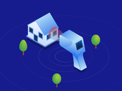 Thermovision Measurement freelance remote illustrator saving energy gradient hero vector blue tree measurement thermovision house isometric illustration jakub jezovic isometric illustration