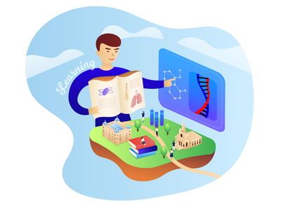 Primary School Illustration island adobe gradient vector remote freelance illustrator isometric character books sky teacher teaching learning education london network school primary illustration