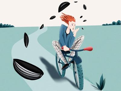 Cyclist humor childrenillustration comics drawing life ui characterillustration cartoon procreate character design digitalart illustration