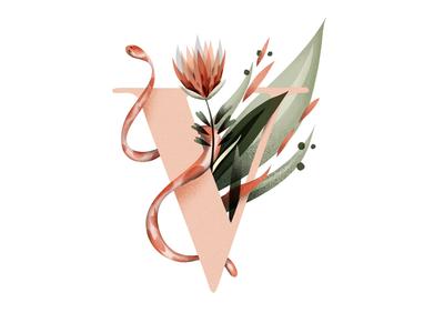V nature custom digitalillustration digitalart flowers lettering letters alphabet illustration