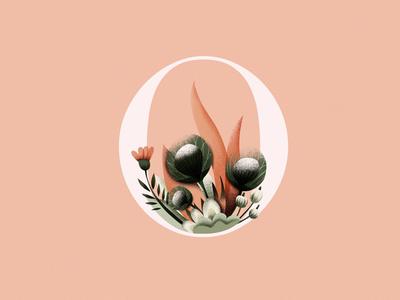 O nature flowers floral illustration art digitalart logo logodesign customletters lettering alphabet