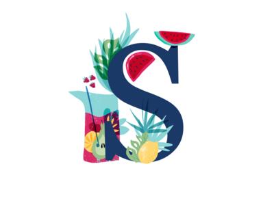 S digital art logo alphabet illustration custom letters lettering