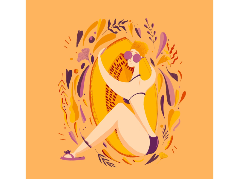 Just hug the melon illustrator digital digitalart character characterfesign summer illustration