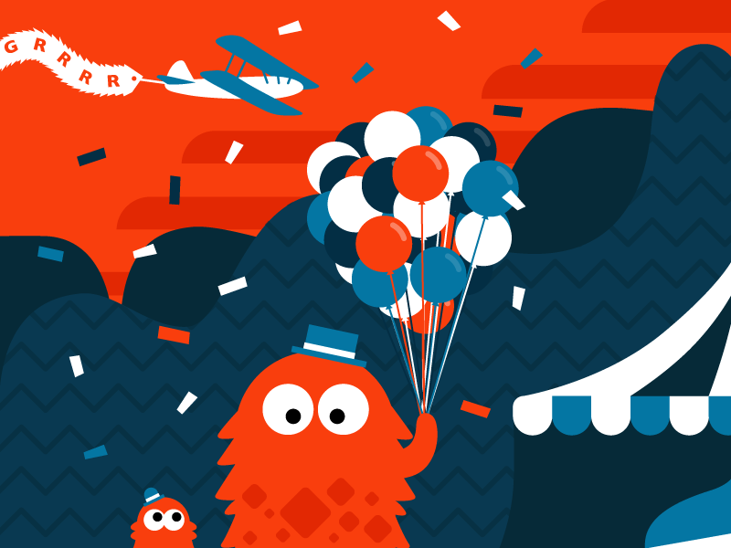 Monster's Day Out cute children playful party celebration vector flat illustration monster