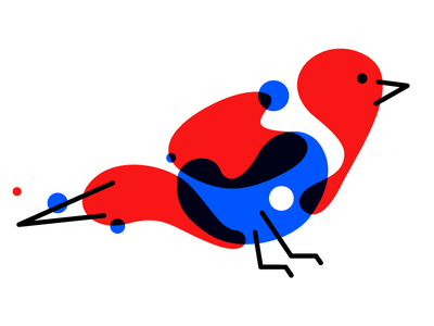 birdie blue red design illustration bird