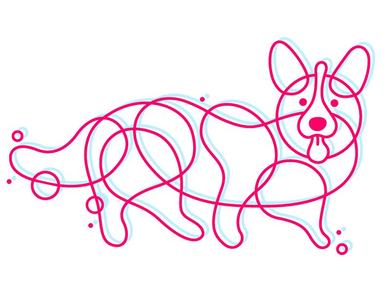 Bubble pup digital illustration bubbles puppy dog corgi