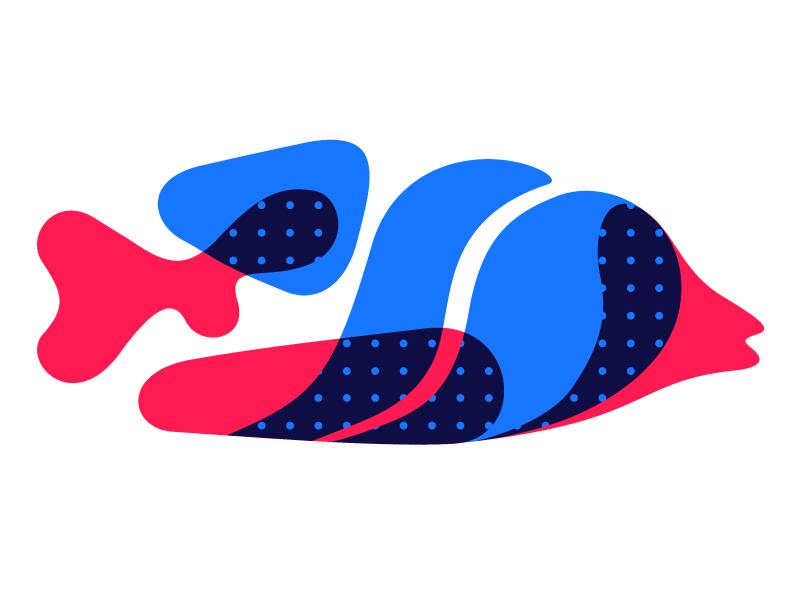 Red fish, blue fish blue red illustration fish